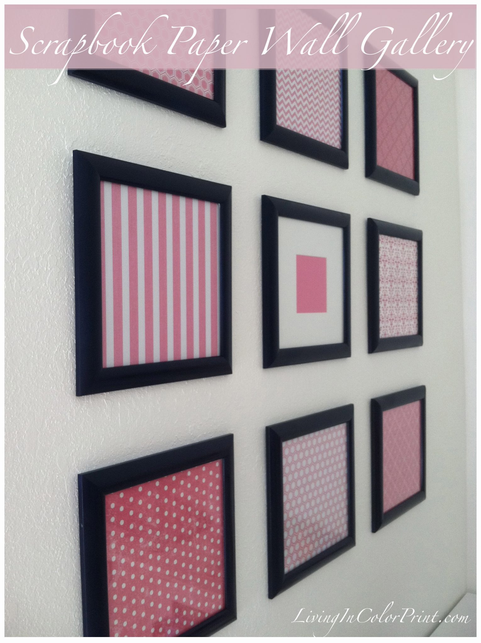 DIY framed scrapbook paper gallery wall