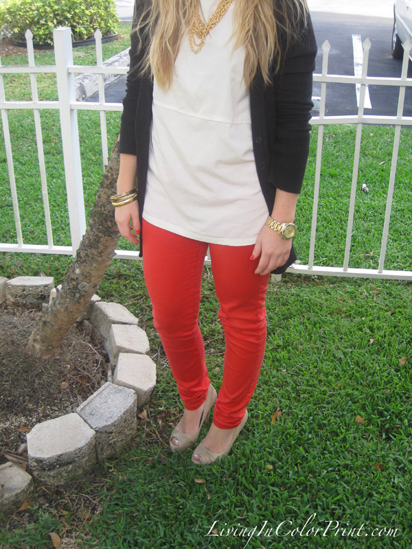 Zara Coral Jeans, Black Cardigan