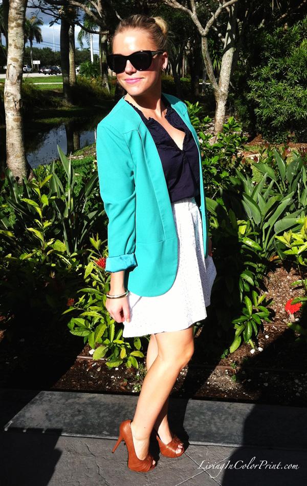 White Eyelet Skirt, Mint Blazer, Navy Shirt
