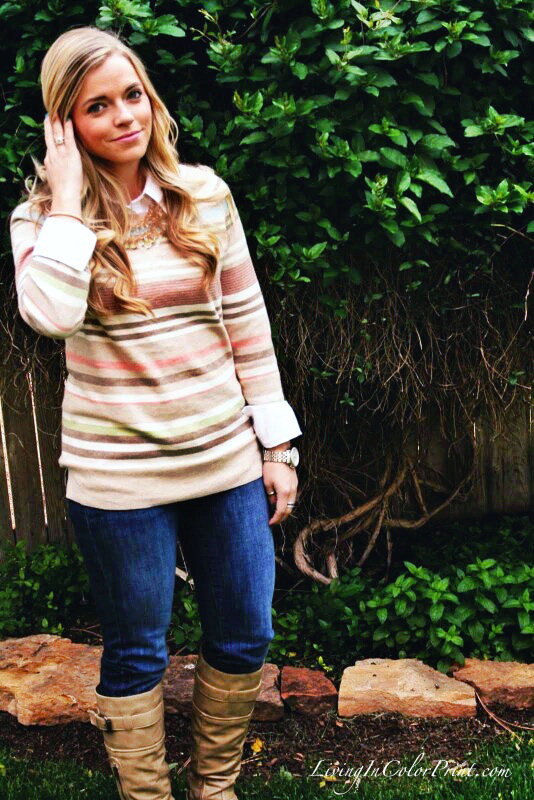 Pastel Stripe Sweater and Jeans