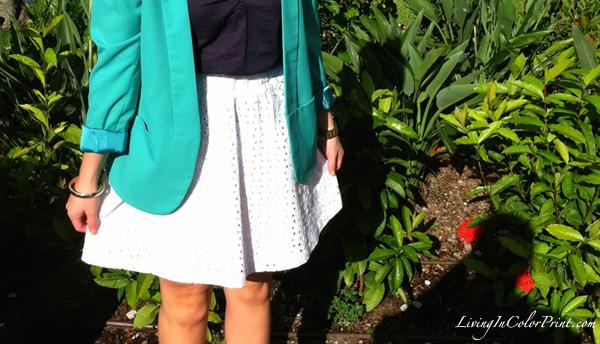 mint blazer, white skirt, navy skirt
