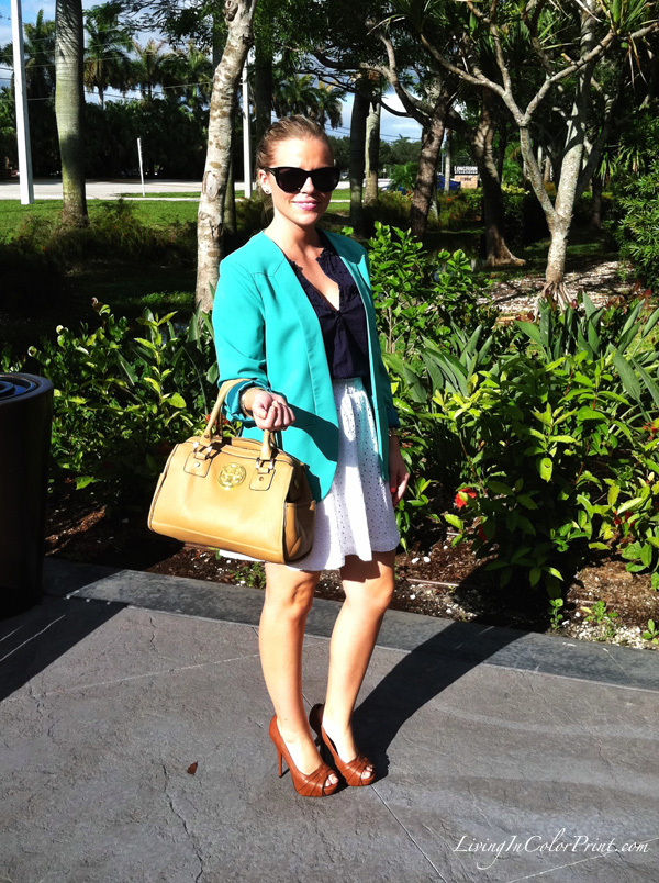 Mint Blazer and White eyelet skirt
