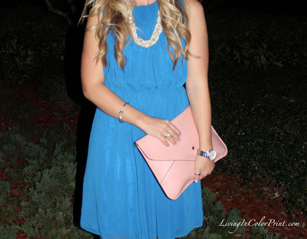 light pink clutch, pale pink clutch, cobalt blue dress