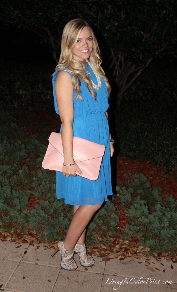 Blogger birthday dinner outfit, Calvin Klein cobalt blue dress