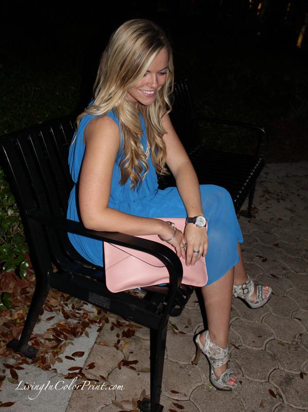 Calvin Klein cobalt blue dress, light pink clutch