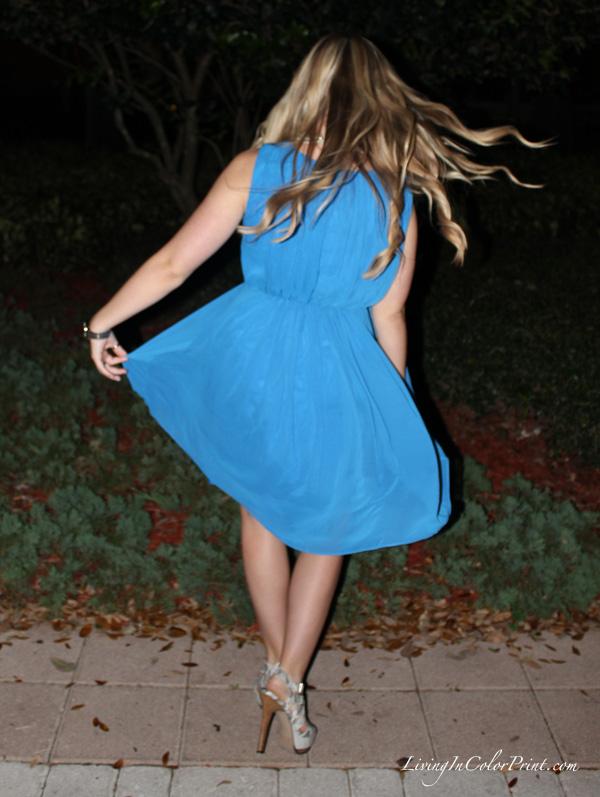 Blogger twirl in cobalt blue dress from Marshalls