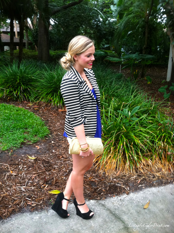 white shorts, black wedges, stripe blazer