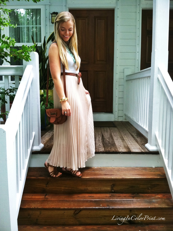 maxi skirt day look, beige maxi, white cami