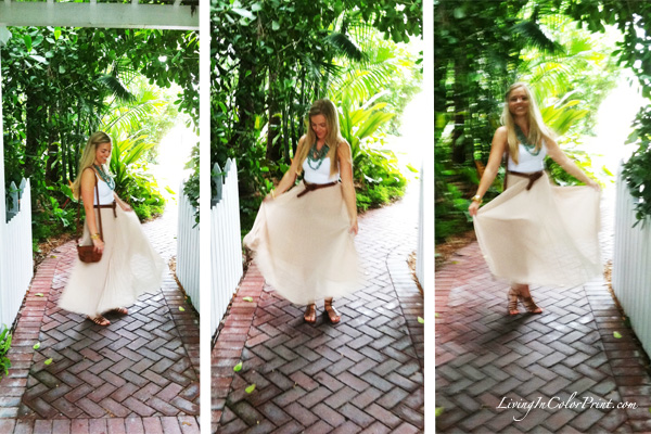 Beige maxi skirt, how to wear for day, blogger outfit