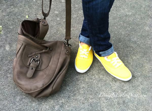 Yellow Keds, tennis shoes, grey aldo cross body