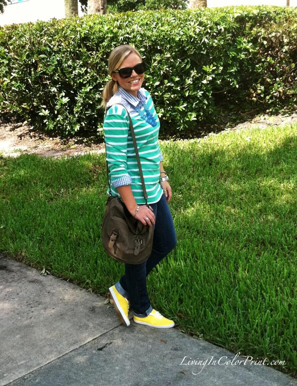 Mint stripes, yellow shoes, jeans