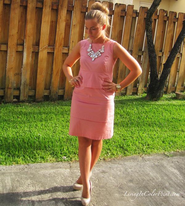 pale pink blogger dress, south florida blogger, kristin clark