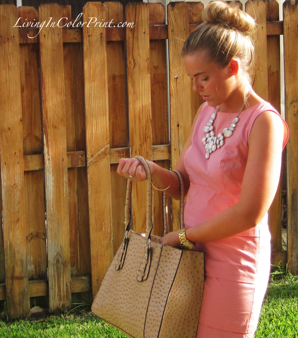 nude purse, pink shift dress, statement necklace