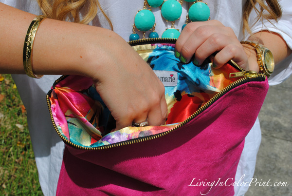 bright pink clutch, hot pink clutch, Gigee Marie, J crew bubble necklace
