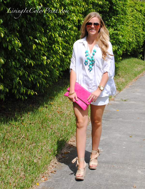 JCrew bubble necklace, gigee marie clutch, white on white