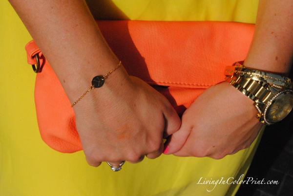 MBSwim week fashion, coral target clutch