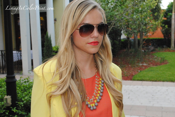 sunburst j crew necklace, yellow blazer, orange dress