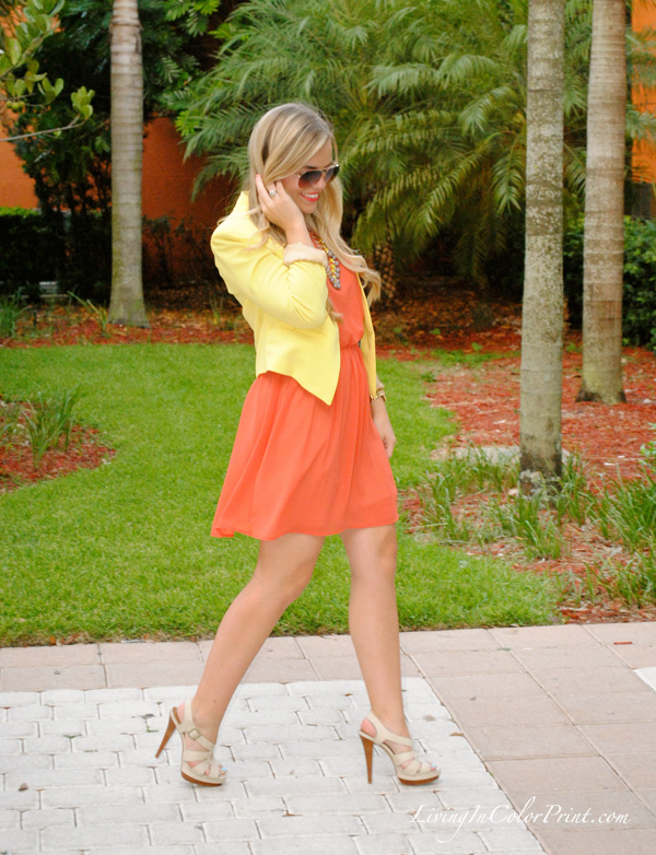 tangerine orange dress, j crew sunburst necklace, yellow blazer, etiquette boutique