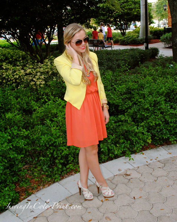 miami fashion blogger, ootd, blogger outfit of the day, orange dress, yellow blazer