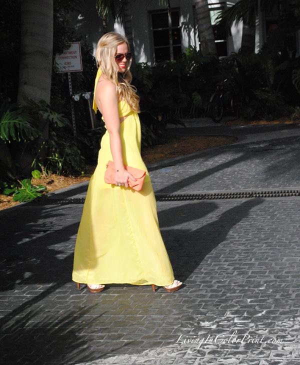 Yellow maxi dress from tutu boutique, Miami style