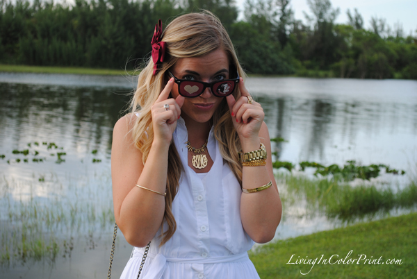 FSU sunnies, garnet and gold hair bow, white sundress