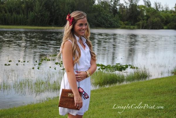 monogram hair bow, white sundress, fsu gameday fashion
