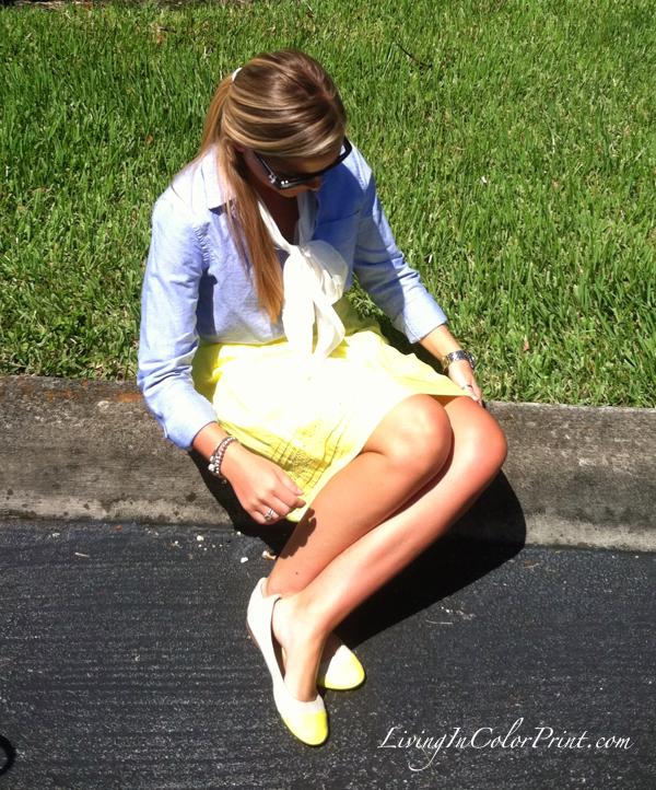 neon yellow skirt, chambray shirt, miami fashion blogger