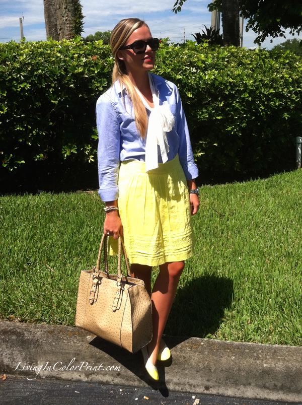 neon and chambray on living in color print, miami fashion blogger, miami fashion