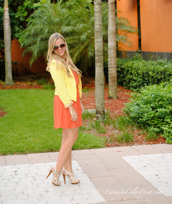 orange dress, yellow blazer, steve madden heels