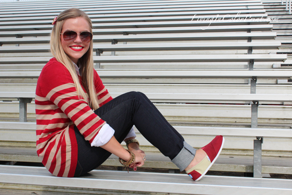 Levis jeans styled for football fashion, gameday fashion