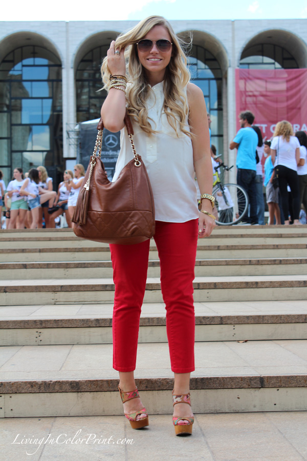 NYFW blogger outfit, Living In Color Print at Lincoln Center