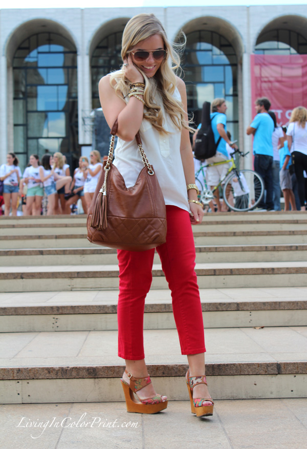 blogger outfit at NYFW, red pants and white blouse