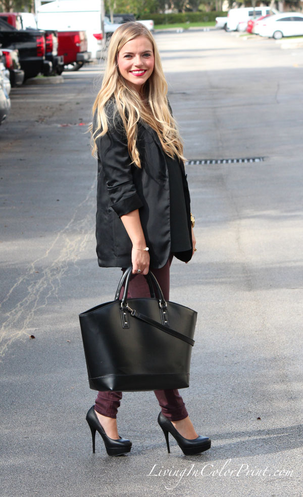 Black and plum outfit, black zara basket shopper