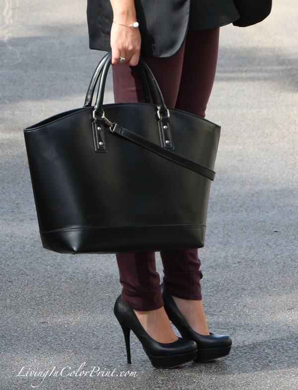 Zara Shopper Basket and Plum skinnies, black pumps, blogger fall outfit