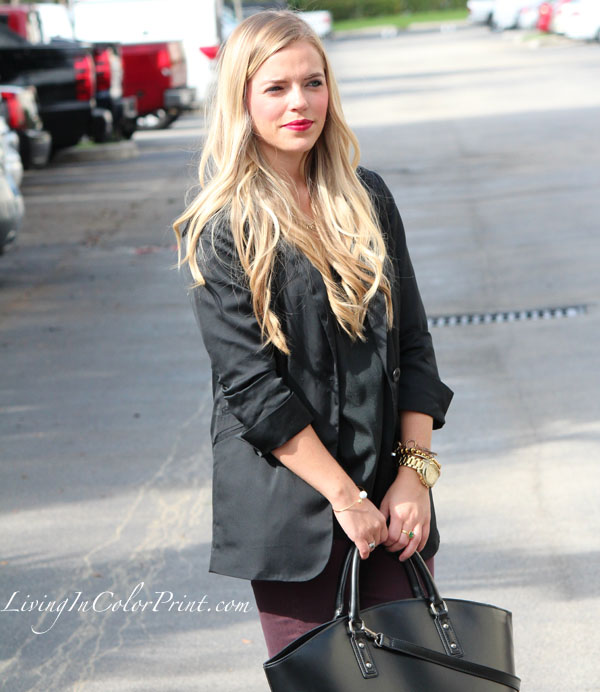 Black and Plum blogger outfit, plum skinny jeans, cranberry skinnies