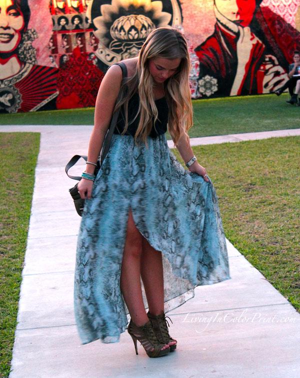 Dusk in Wynwood Miami, Wynwood Walls, Miami Fashion Blogger, snakeskin maxi skirt