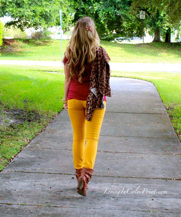 Seminole Nation. Blogger Style. PART V, Mustard denim, burgundy lace, MIA Shoes