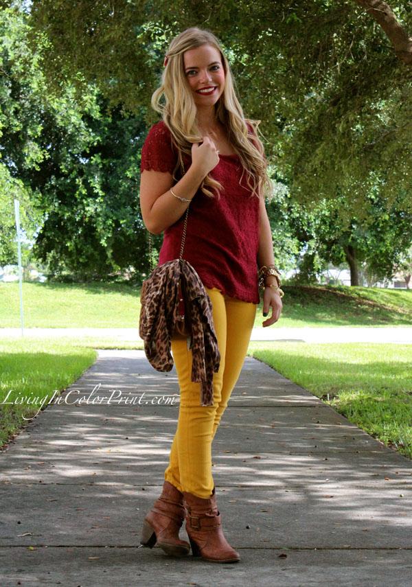 Mustard denim, burgundy lace shirt, Seminole Nation. Blogger Style. PART V