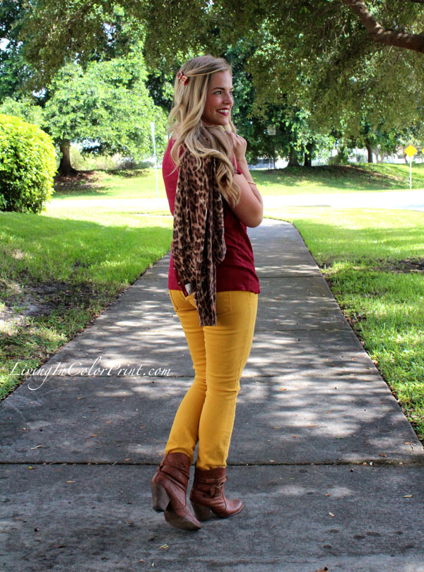 Seminole Nation. Blogger Style. PART V, Mustard Denim and Burgundy Lace Top