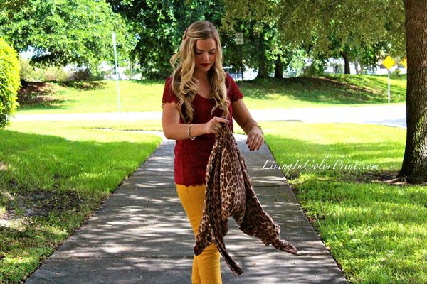 Mustard denim, burgundy shirt, FSU gameday style, seminole style, FSU blogger