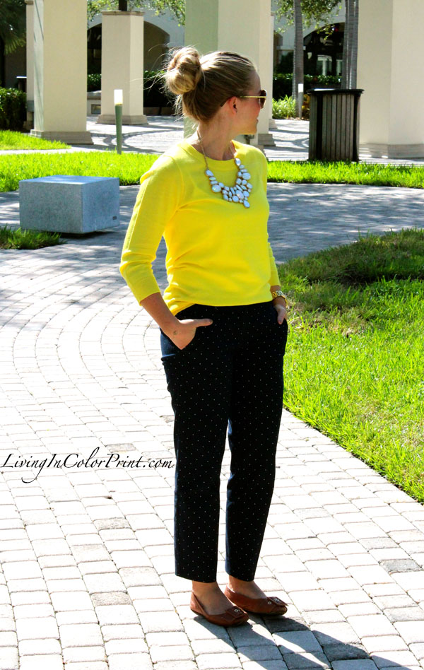 Polka dot pants, J Crew citron sweater, miami fashion blogger