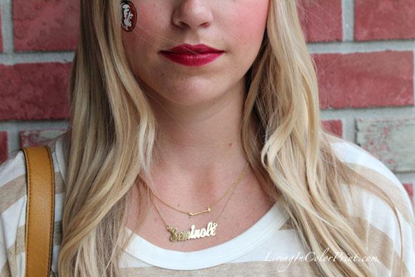 arrow necklace, Seminole necklace, FSU necklace, FSU jewelry
