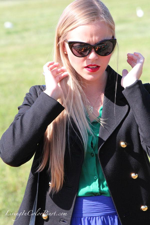 Kristin Clark blogger, pumpkin patch photo shoot, cat eye sunnies
