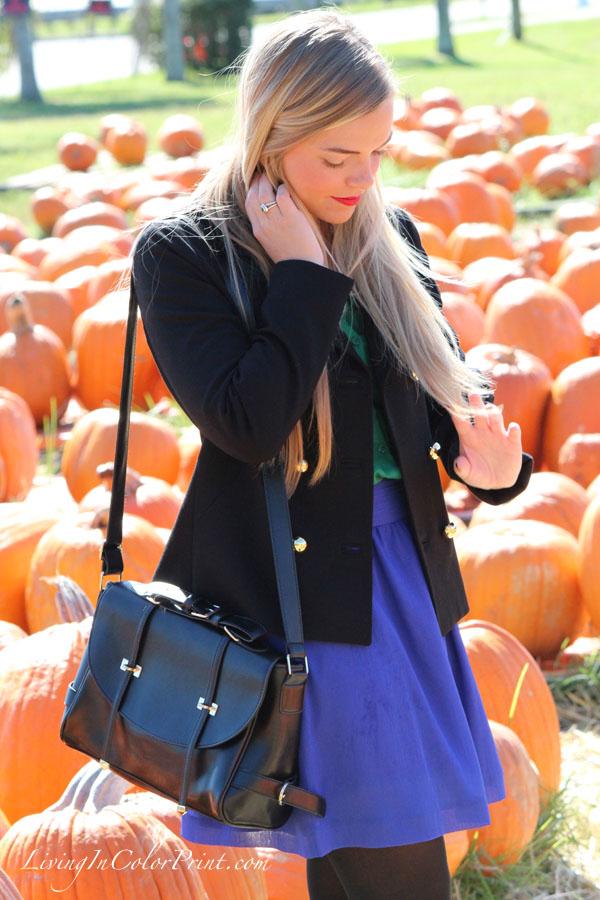 Pumpkin patch photo shoot, Miami fashion blogger, kristin clark, purple skirt with tights