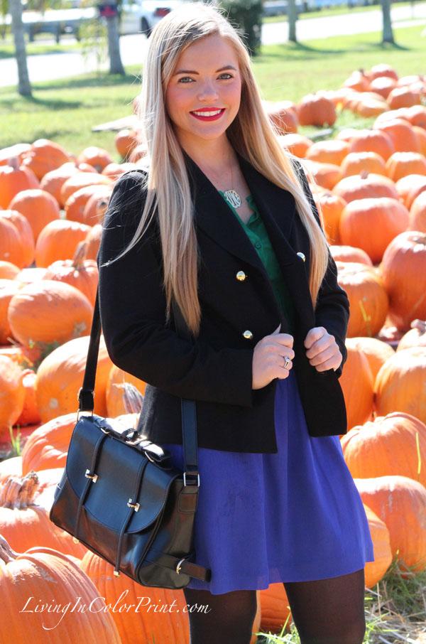 Kristin Clark fashion blogger, Alice & Trixie back pea coat, purple skirt, pumpkin patch photo shoot