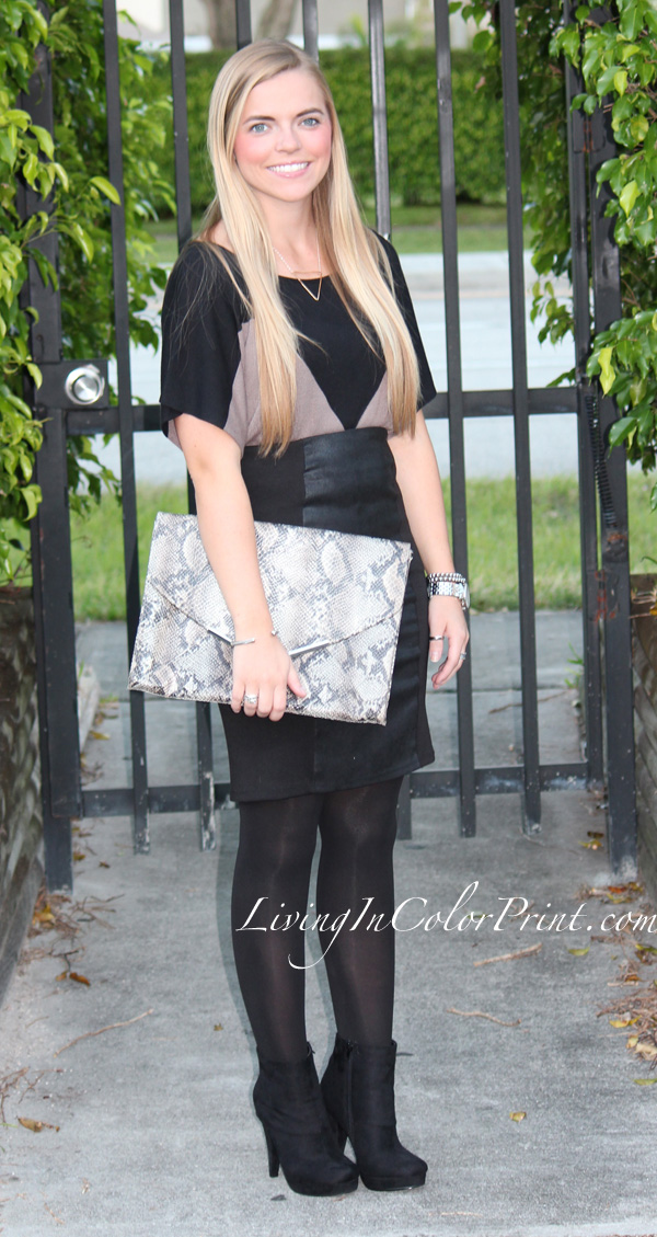 Androbel Boutique, black leather panel skirt, black leather pencil skirt, snakeskin envelope clutch, blonde blogger