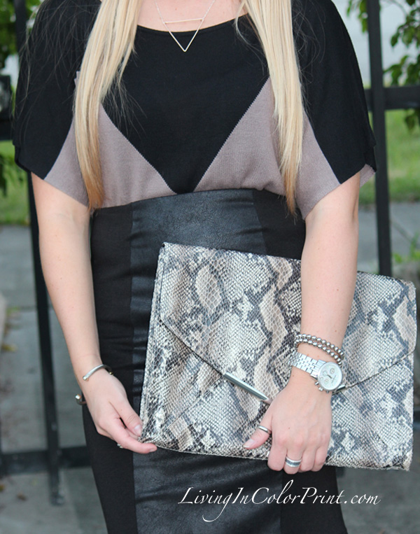 Androbel Boutique, triangle necklace, snakeskin envelope clutch, leather panel pencil skirt