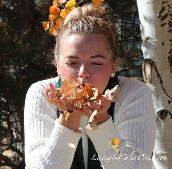 Cozy Oversized Sweater, sock bun blogger, fall leaves photo shoot, blowing leaves, cream cozy sweater