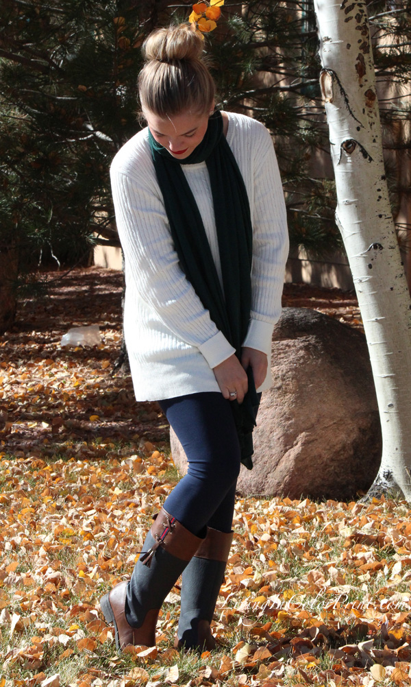 Cream oversized cozy sweater, navy leggings, navy and brown boots, hunter green scarf