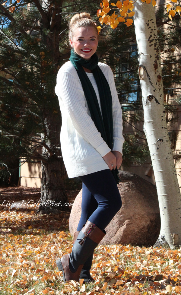 Cozy Oversized Sweater, navy leggings with oversized sweater, hunter green scarf, brown and navy boots